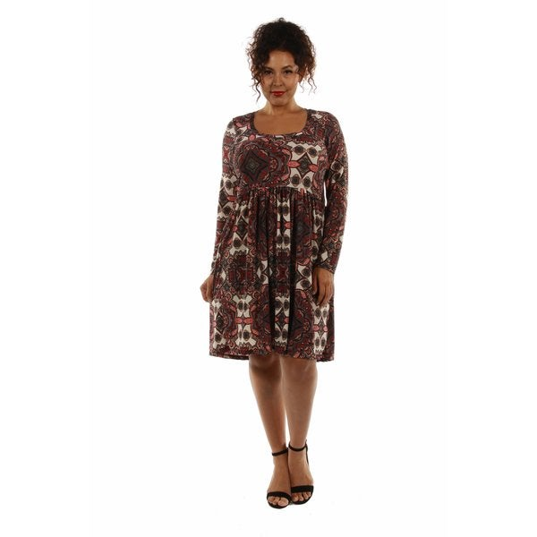 Bellissima Patterned Plus Size Midi Dress