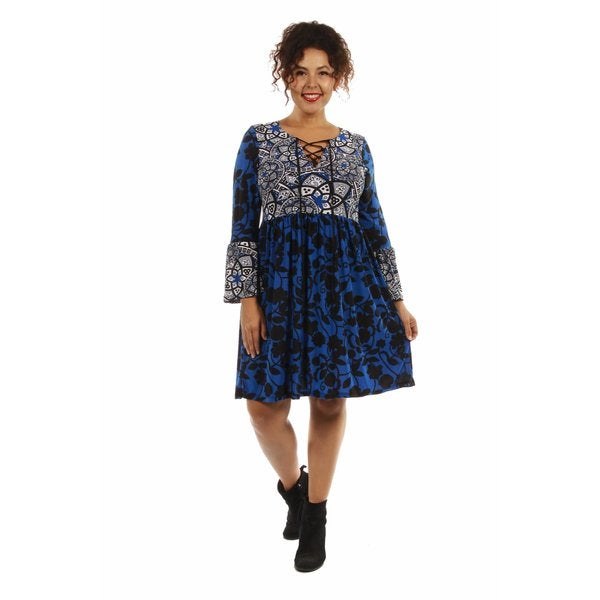 True Colors Plus Size Lace Up Blue Midi Dress