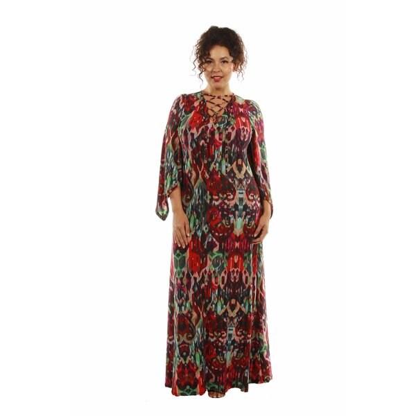 Dazzling Jewel Print Plus Size Maxi Dress