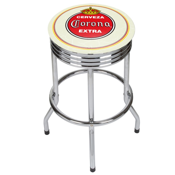 Corona Chrome Ribbed Bar Stool - Vintage 21475505