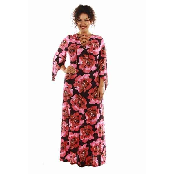 Bewitching Floral Lace Up Maxi Dress Caftan