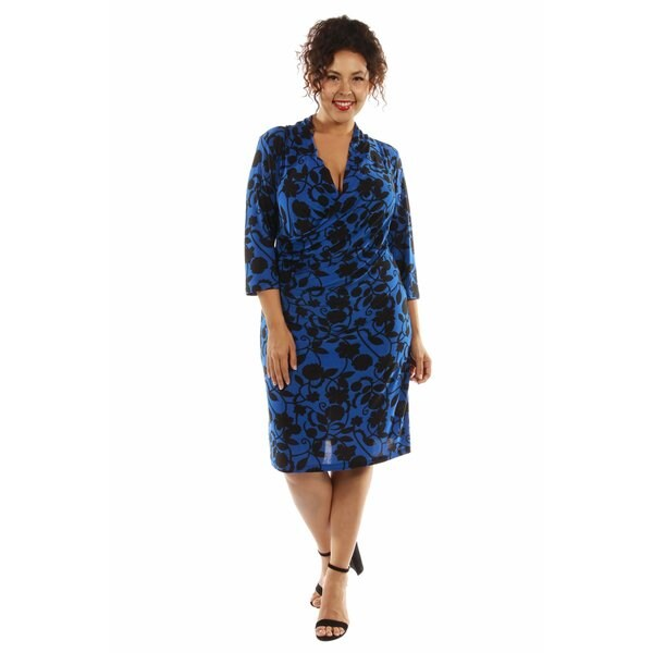 Alluring Blue Ocean Midi Faux Wrap Dress Plus Size