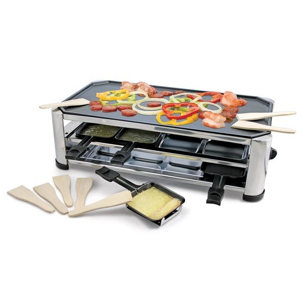 Swissmar KF-77089 8-Person Raclette Party Grill with Reversible Cast Aluminum Grill Plate, Stainless Steel