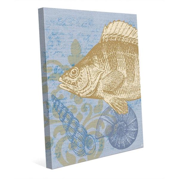 Light Blue Damask Fish Canvas Wall Art