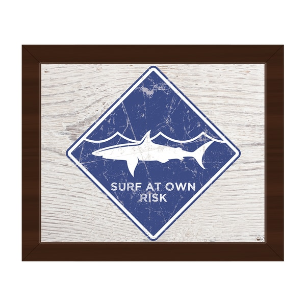 Shark Warning' Blue Framed Canvas Wall Art