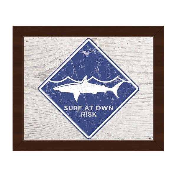 Shark Warning' Blue Framed Canvas Wall Art