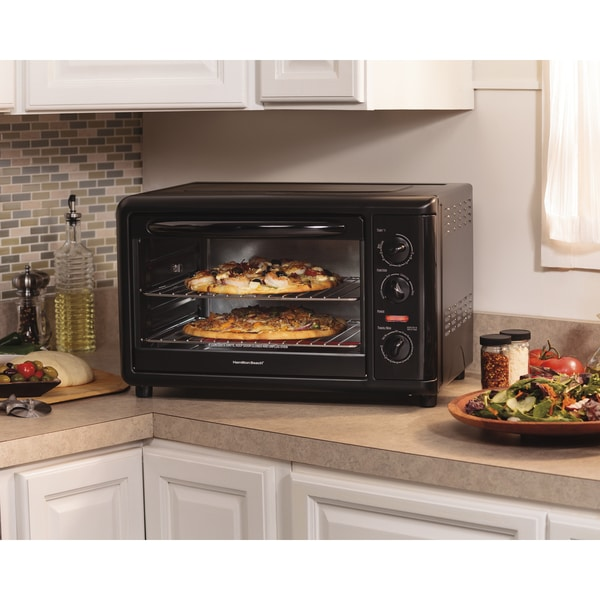 Recertified Hamilton Beach Black Metal Countertop Oven with Convection and Rotisserie 21479490