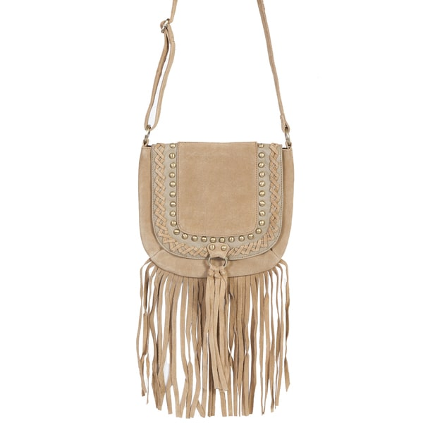 Scully Leather Womens' Tan Leather Full-flap Fringe Handbag