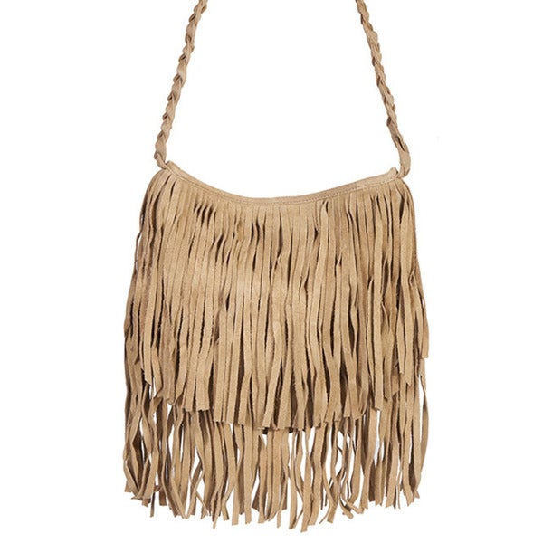 Scully Leather Women's Beige Suede Fringe Shoulder Handbag
