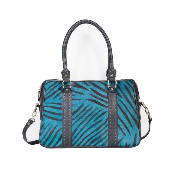 Scully Leather Blue Zebra Print Satchel Handbag