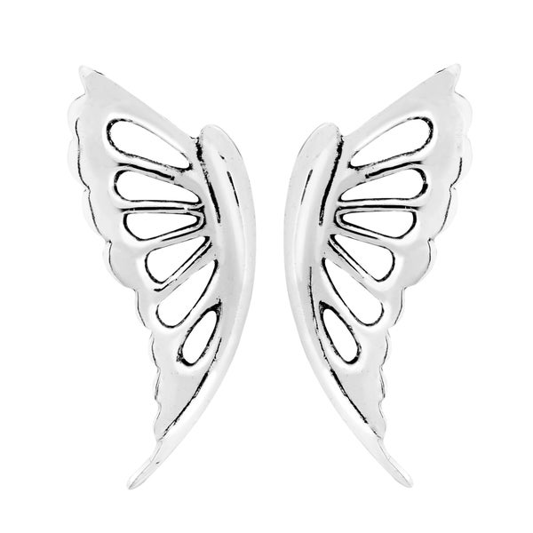 Abstract Butterfly Wings .925 Sterling Silver Stud Earrings (Thailand) 21479707