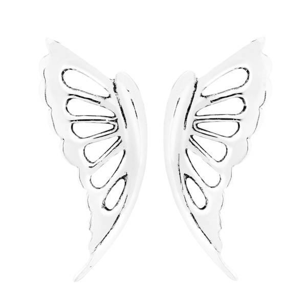 Handmade Abstract Butterfly Wings .925 Sterling Silver Stud Earrings (Thailand) 21479707