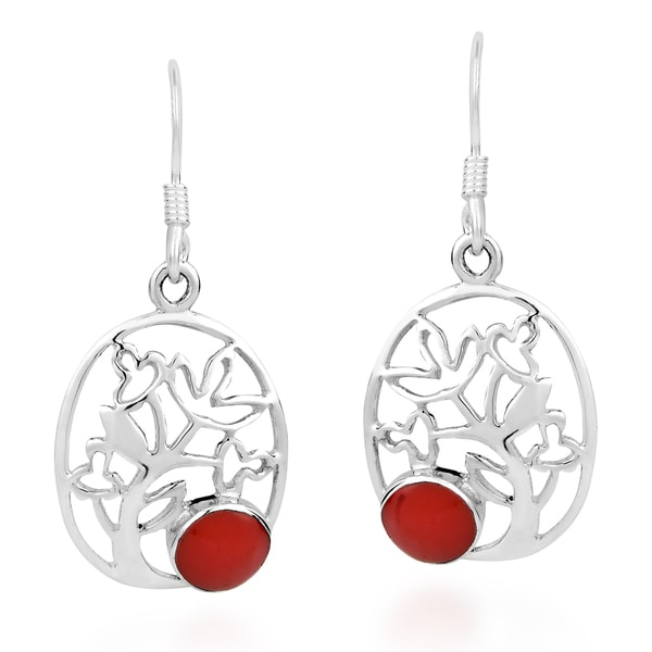 Full Bloom Red Coral Oval Tree of Life .925 Silver Earrings (Thailand)