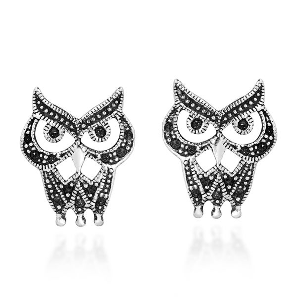 Mysterious Night Owl .925 Sterling Silver Stud Earrings (Thailand)