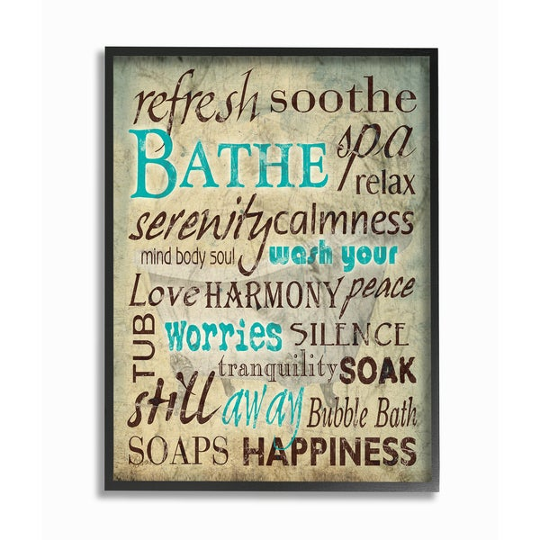 Wash Your Worries Away' Typography Framed Giclee Texturized Art
