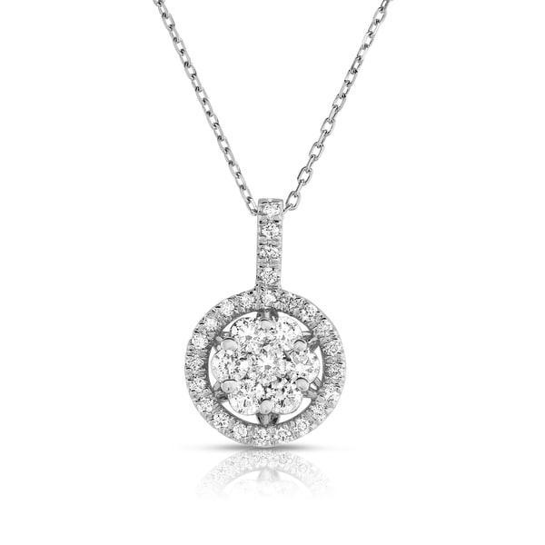 Noray Designs 14k White Gold Diamond Cluster Pendant Necklace