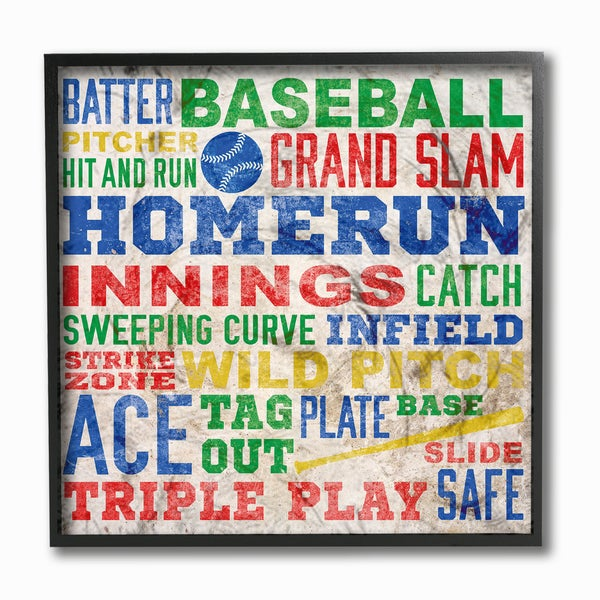 Baseball' Multicolor Typographic Framed Giclee-print Texturized Wall Art