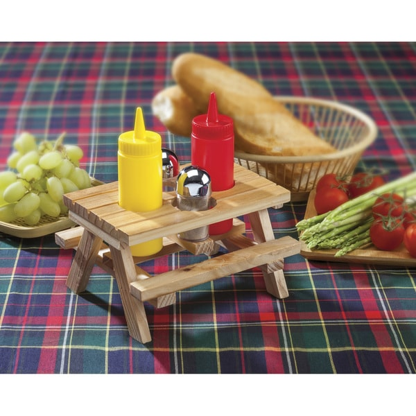 Wood Picnic Table Condiment Set
