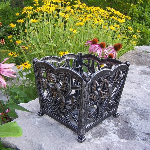Sweet Hummingbird Silvertone Aluminum/Metal Square Flower Pot