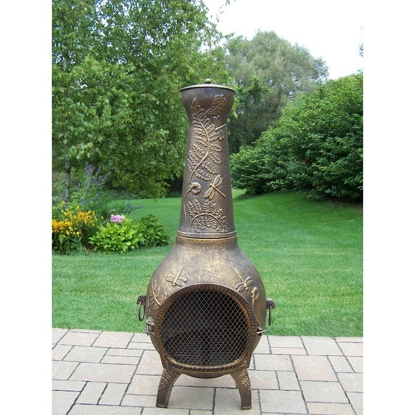 Gold-tone Wrought Iron 53-inch Outdoor Chimenea