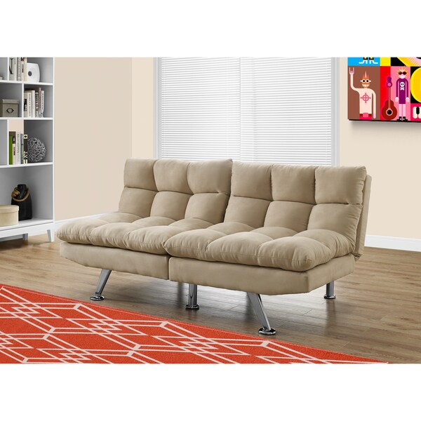 Light Taupe Micro-suede Split-back Click-Clack Futon