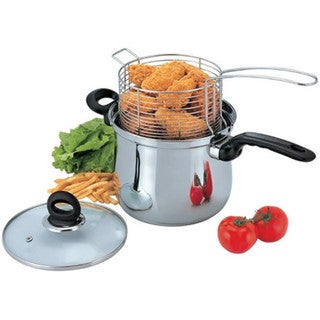 Stainless Steel 4-quart Deep Fryer 3-piece Set