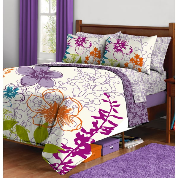 Multi Floral Bed in a Bag with Sheet Set