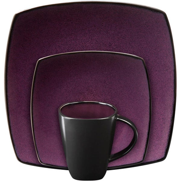 Gibson Soho Lounge Square Purple 16-piece Dinnerware Set (Service for 4)