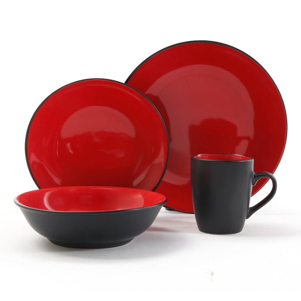 Vivendi Red/Black 2-tone 16-piece Dinnerware Set