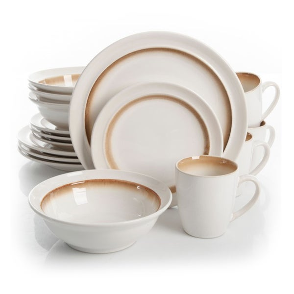 Gibson Lawson Brown 16-piece Dinnerware Set (Service for 4)