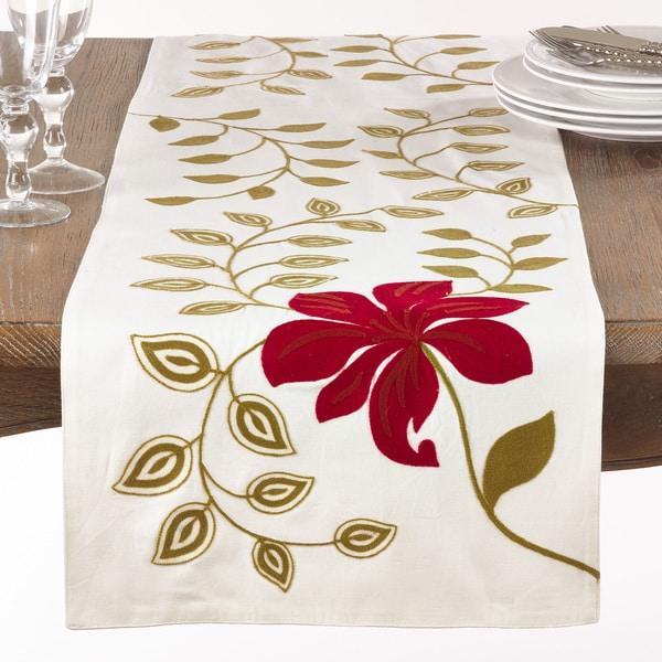 Embroidered Flower Table Runner
