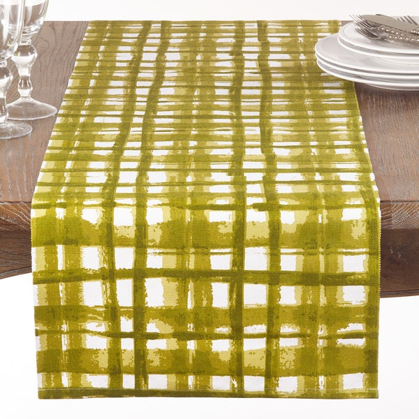 Green Basket Weave Print Table Runner
