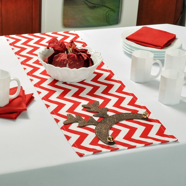 Zig Zag Red/White Cotton-blended Runner with Reindeer Ears and Bells