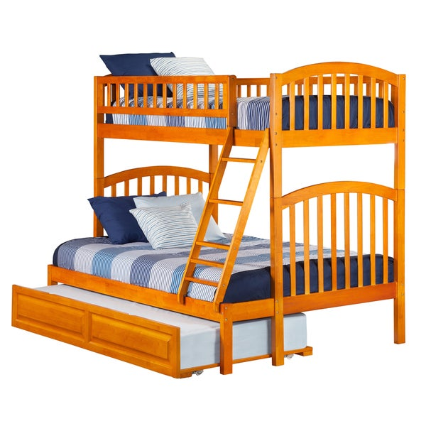Atlantic Richland Caramel Latte Wood Twin over Full Bunk Bed with Raised Panel Trundle Bed