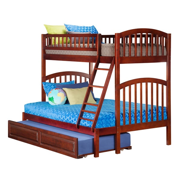 Atlantic Richland Walnut Rubberwood Twin-over-full Bunk Bed With Raised Panel Trundle Bed