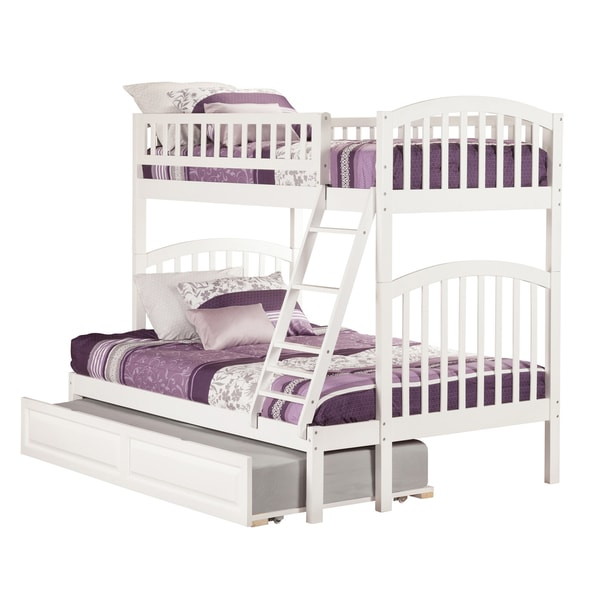 Richland White Rubberwood Twin over Full Bunk Bed with Raised Panel Trundle
