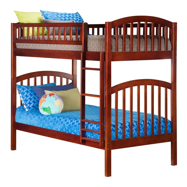 Richland Wood and Rubberwood Twin over Twin Bunk Bed with Walnut Finish