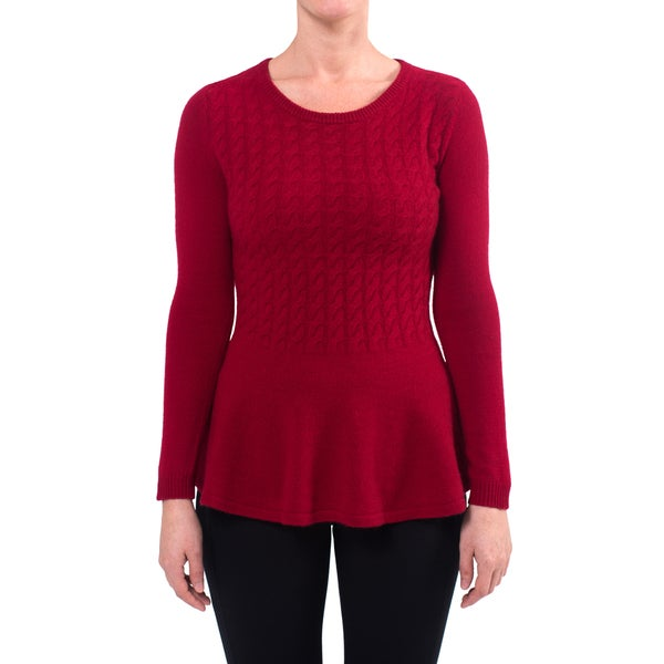 Premise Women's Red/Black Cashmere Cable-knit Peplum Sweater