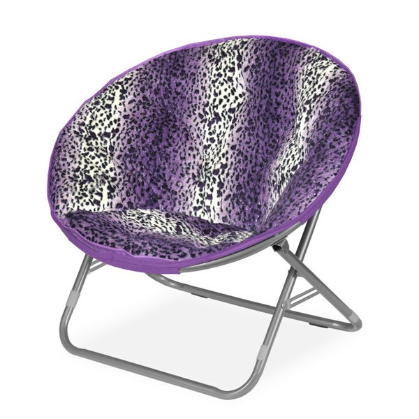 Rock Your Room Leopard Ombre White, Black, and Purple Faux Fur Saucer Papasam Chair