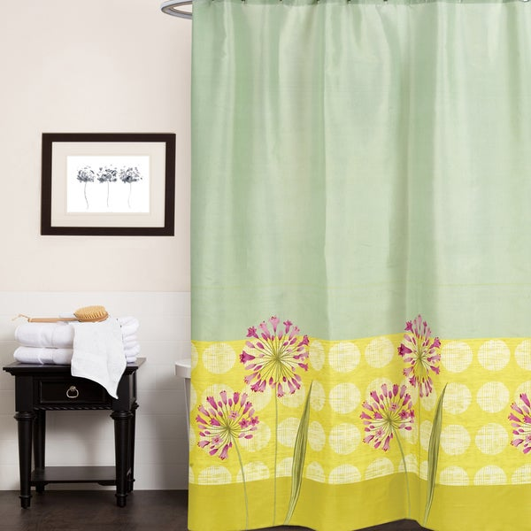 "Serene Floral Print Fabric Shower Curtain (70""x72"")"
