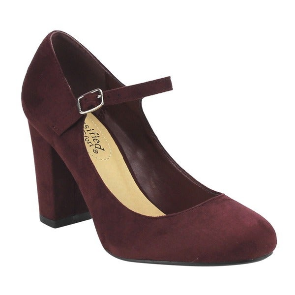 Cityclassified Comfort FE66 Women's Mary Jane High Chunky Block Heel Pumps