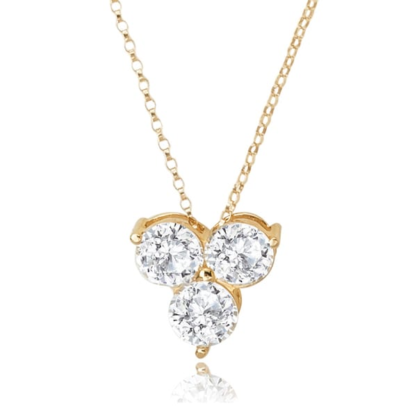 Avanti 14K Yellow Gold 3.0 CT TGW Round Cubic Zirconia Three Stone Cluster Pendant Necklace