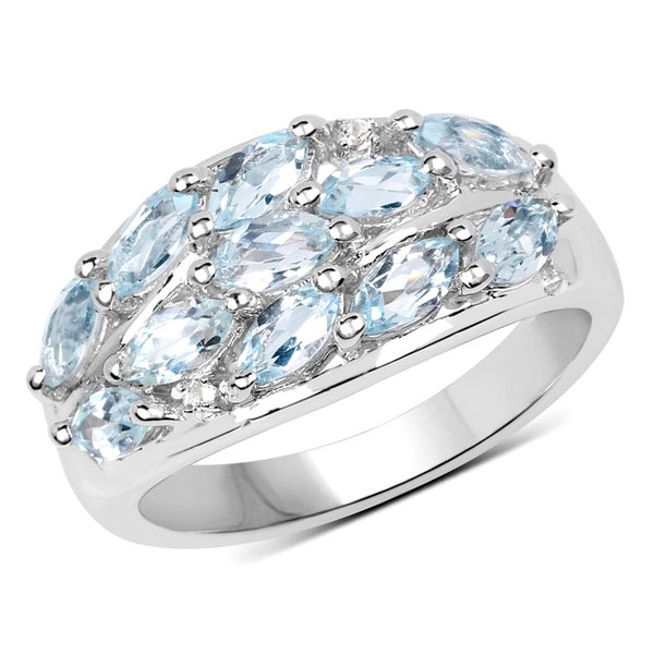 Malaika Sterling Silver 2.22-carat Genuine Blue Topaz and White Topaz Ring