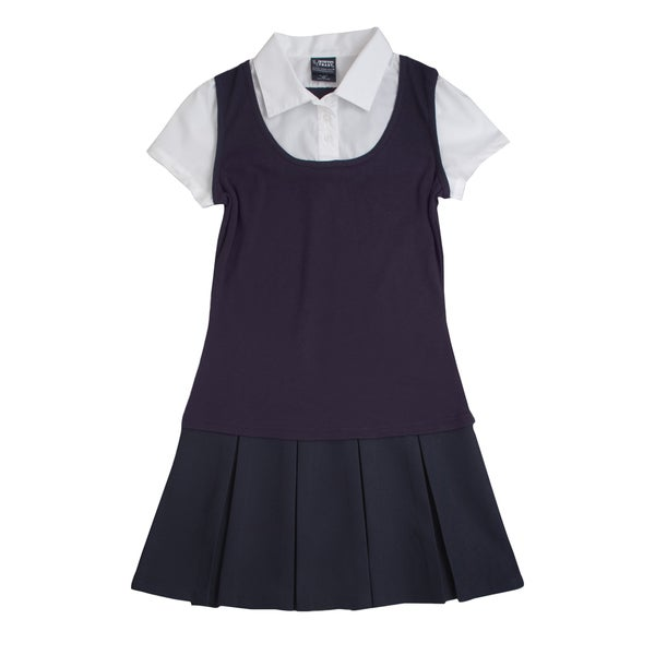 French Toast Girls' Blue/White 2-in-1 Pleated Dress