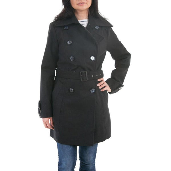 Lee Cobb Women's Black Wool-blend Trench Coat