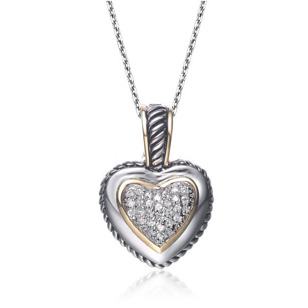 Collette Z Sterling Silver Cubic Zirconia Pave Heart Necklace 21530077