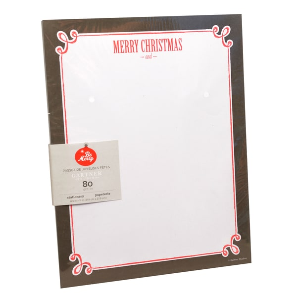 Gartner Studios Merry Christmas and Happy New Year Red and White Paper Stationery (Case of 80)