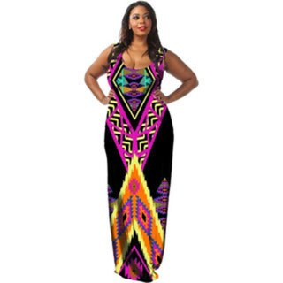 A Plus Style Apparel Women's Tribal-print Low-back Maxi Dress