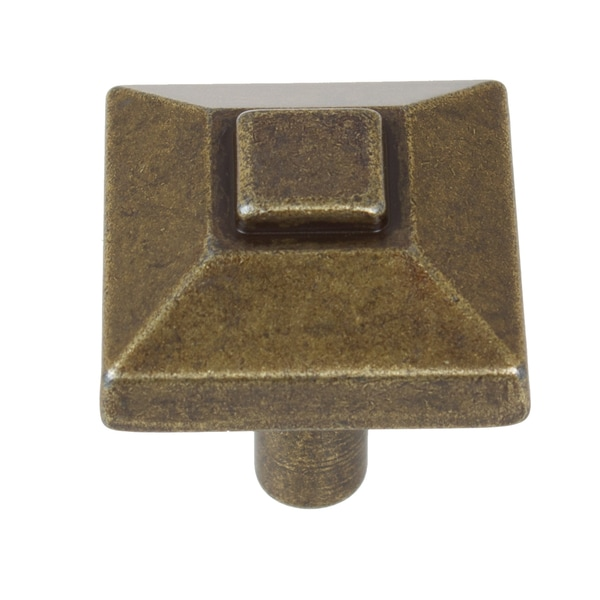 GlideRite 0.875-inch Square Pyramid Antique Brass Cabinet Knobs (Pack of 10 or 25)