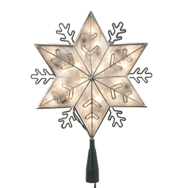 Kurt Adler UL 20-Light Silver Snowflake Star Treetop with Clear Lights